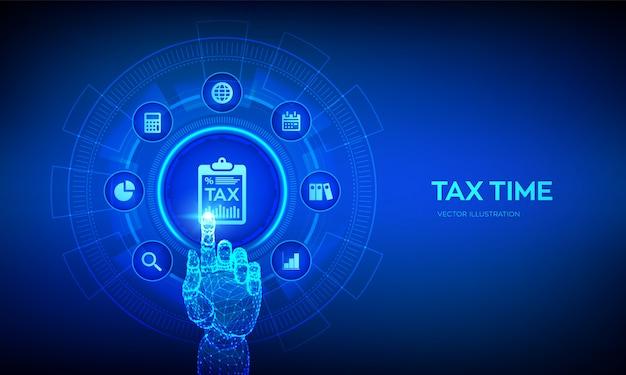 Концепция уплаты налогов. анализ данных, отчет о финансовых исследованиях и расчет налоговой декларации. роботизированная рука трогательно цифровой интерфейс.