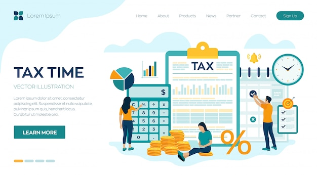 Concept tax payment. data analysis, paperwork, financial research report and calculation of tax return. Premium Vector