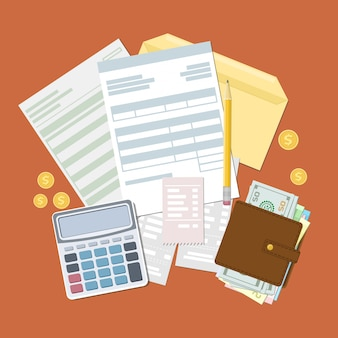Concept of tax payment and invoice.