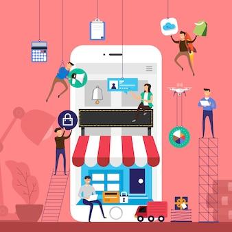 Концептуальная команда, работающая над технологией электронной коммерции интернет-магазина на мобильных устройствах. проиллюстрировать. Premium векторы