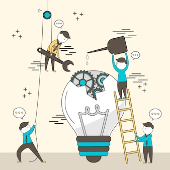 Concept of teamwork: businessmen fixing a broken bulb together in line style