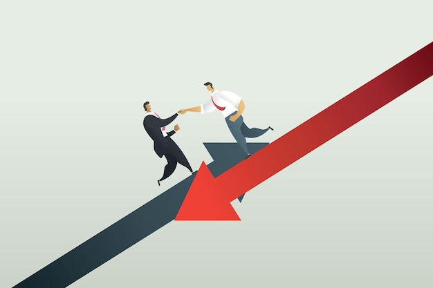 Concept teamwork businessmen holding hands to help from business losses bankruptcy from crisis