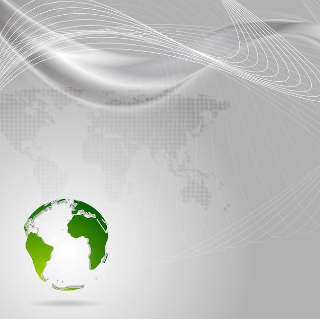 Предпосылка технологии концепции с волнами и зеленым земным шаром. векторный дизайн