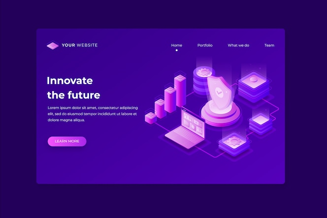 Concept technology landing page template