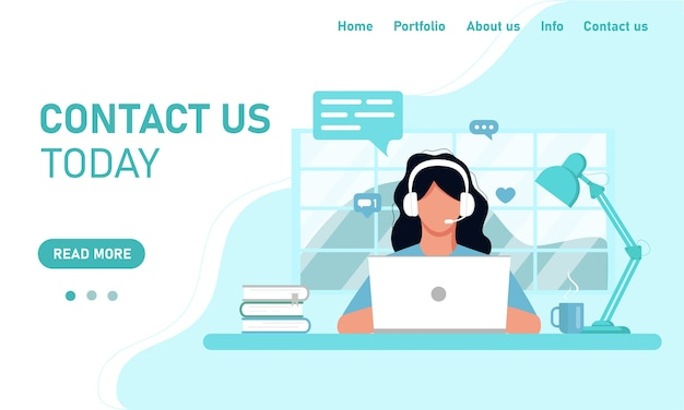 Concept template web site and banner chat customer service customer support. girl in headphones operator working on a laptop working from home office, online training. flat style