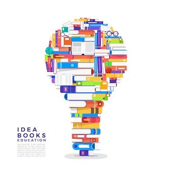 개념 책은 전구입니다. 책을 아이콘 아이디어로 설정하십시오. 설명합니다.