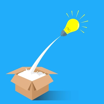 Concept of think outside the box for creative idea symbol
