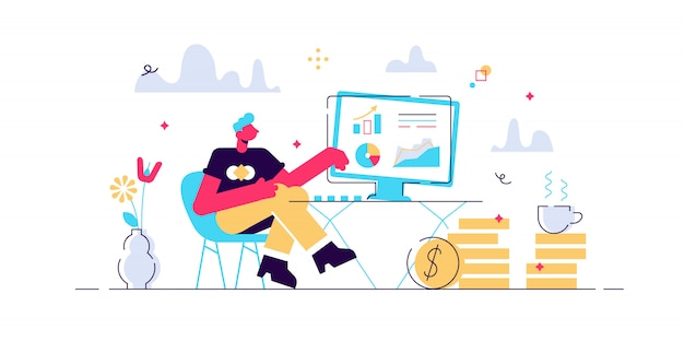 Concept thoughts and analytics for web page, banner, presentation, social media. rise career to success. illustration, start up, man is thinking over an idea, audit, online banking.