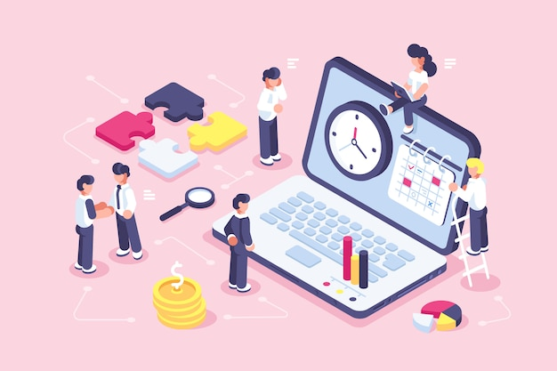 Concept time management banner with character for web page. flat isometric vector illustration isolated. businessman working near laptop. planning. puzzle. organization of process. team work. time.
