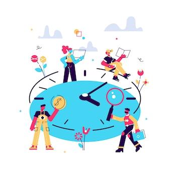 概念時間管理、等尺性の時計の図、プロセスの組織に取り組んでいるビジネスマン。チームワーク