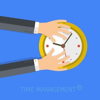 Concept of time management. flat vector illustration