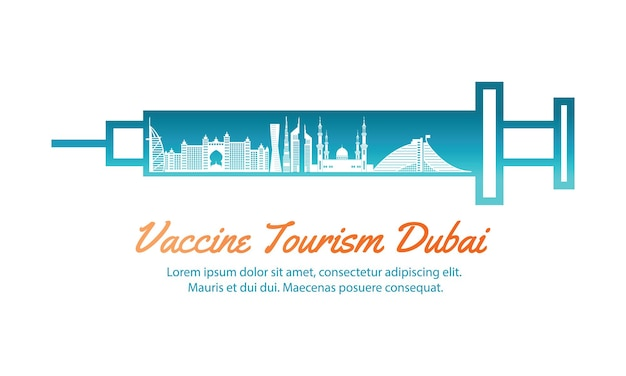 두바이 백신 관광의 개념 여행 예술