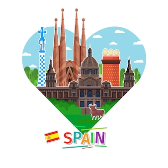 Concept of travel to spain or studying spanish. spanish flag with landmarks in shape of heart. flat design, vector illustration