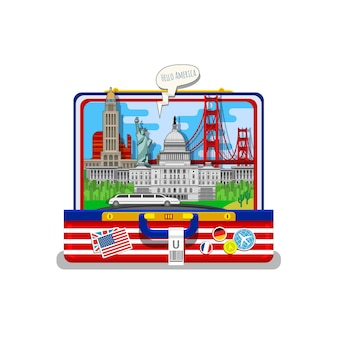 Concept of travel or studying english. american flag with landmarks in open suitcase
