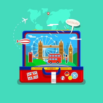 Concept of travel or studying english. english flag with landmarks in open suitcase. flat design