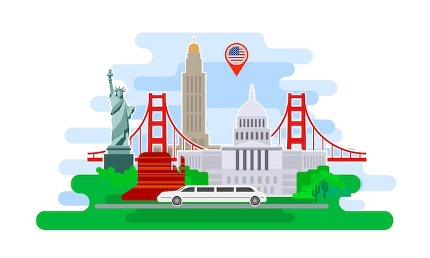 Concept of travel or studying english. Premium Vector