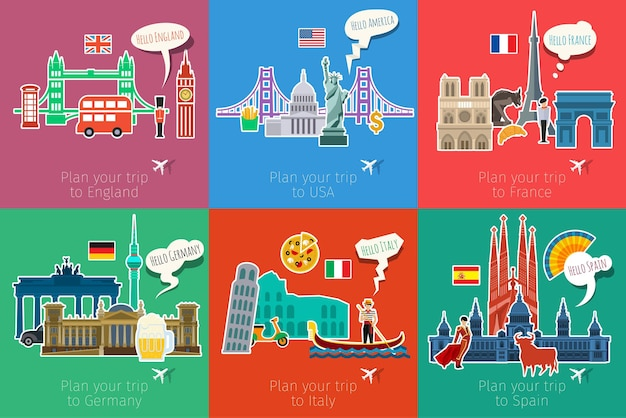 Concept of travel or studying languages. flat design, vector illustration.