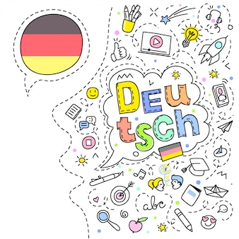 Concept of traveling. german flag and face with line art icons.