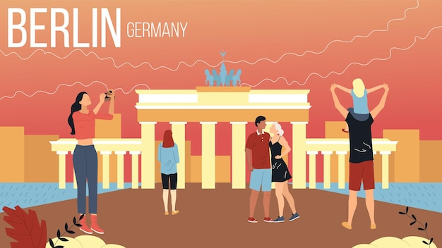 Concept of travelling to berlin, germany cityscape with landmarks. group of tourists book tour, enjoy views, take a photos, characters have good time together. cartoon flat style vector illustration.