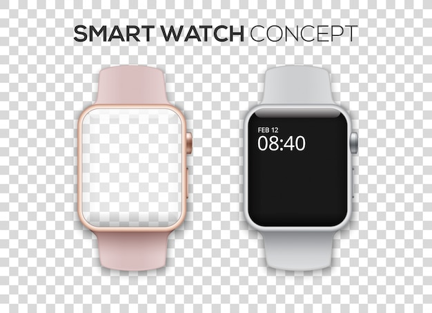 Concept of two colored smart watches