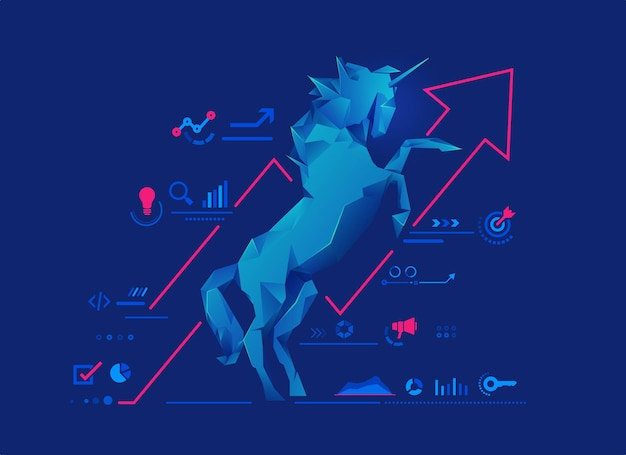 Concept of unicorn startup or successful business, graphic of low poly unicorn with startup business elements