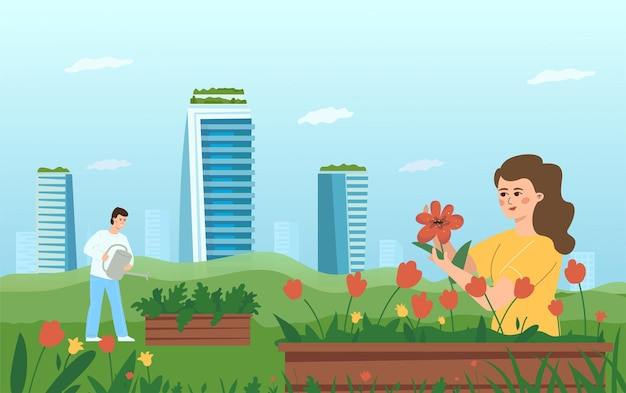 The concept of urban gardening. a woman and a man take care of flowers and plants on the background of skyscrapers.