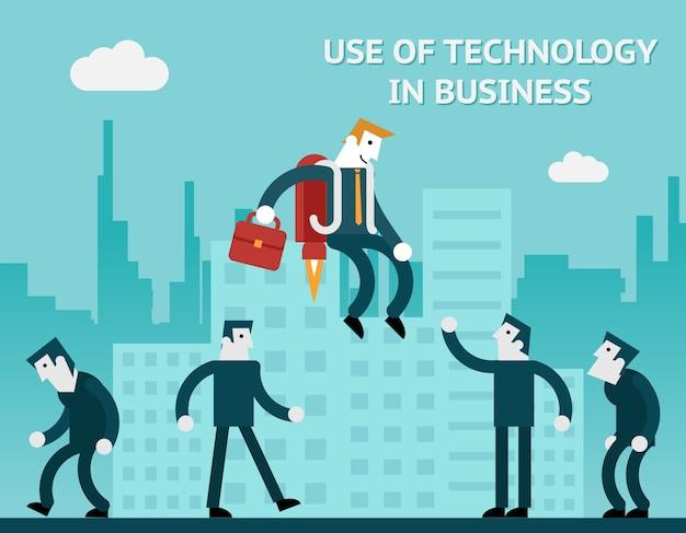 ビジネスにおけるテクノロジーの概念的使用。現代人は進化を進めています。ベクトルイラスト