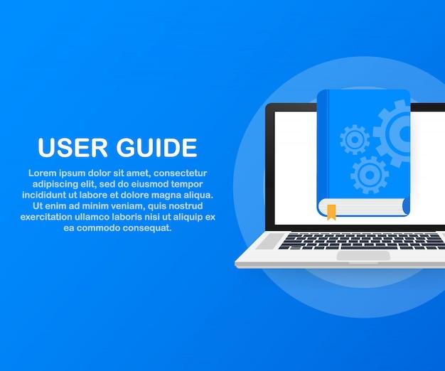 Webページ、バナー、ソーシャルメディアのコンセプトユーザーガイド本。