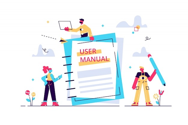Concept user manual for web page, banner, social media. illustration discussing a content of the guide book, requirements specifications document. people are reading book instructions.\n