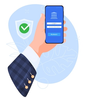 Concept of using a smartphone phone in hands login to mobile banking data protection illustration