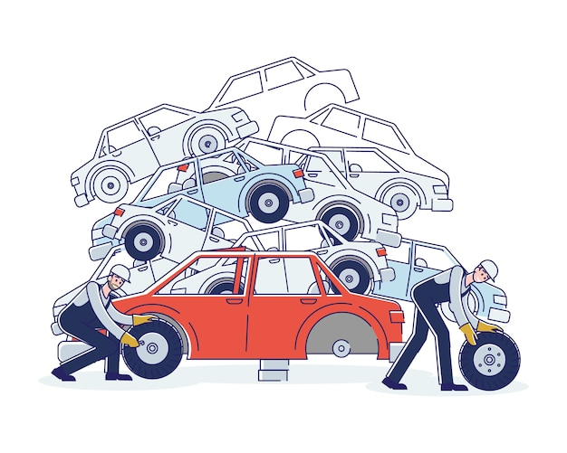 Concept of utilization of vehicles. characters work on junkyard sorting old used automobiles and piles of damaged cars. characters dismantling cars.