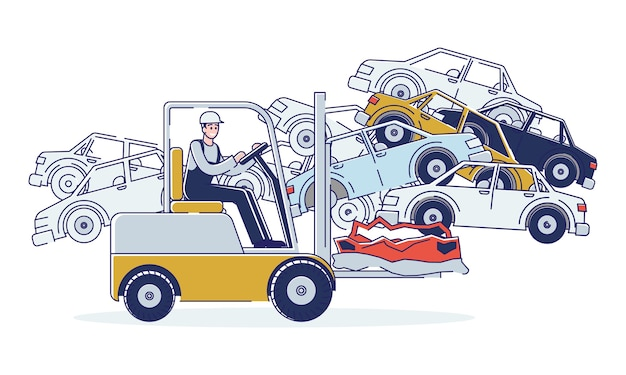 Concept of utilization of vehicles. man is working on junkyard sorting old used automobiles and piles of damaged cars.