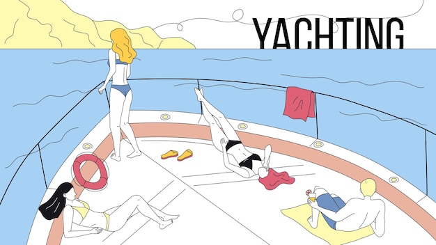 Concept of vacations on yacht, sea travel and friendship.