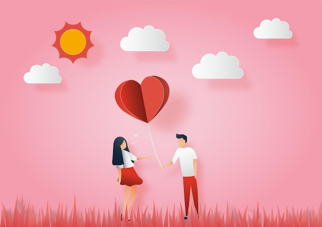 Concept of valentine day. men give paper hearts to woman.