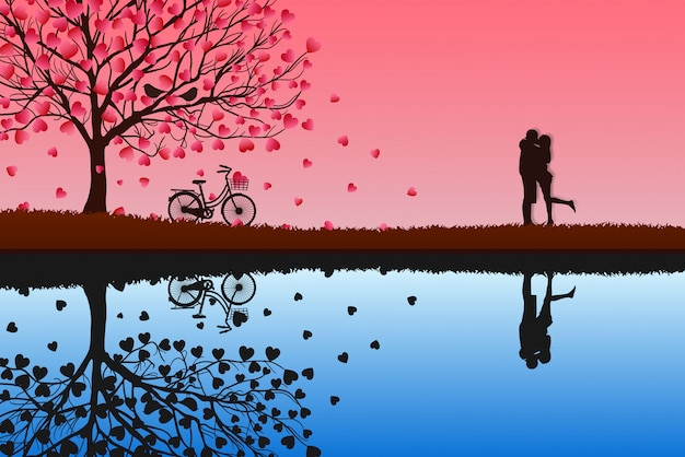Concept of valentine's day, men and women stand together to express love.  vector illustration of pink paper art.