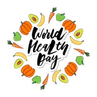 Concept vector card - world health day vegetables fruits
