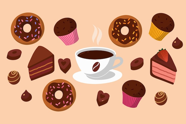 Concept vector illustration cartoon style delicious breakfast or coffee break coffee and sweets