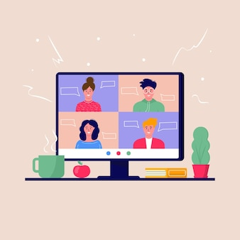 Concept of videoconference and online meeting workspace. design template with business people taking, education, report, flyer, marketing, leaflet, advertising, brochure, modern style vector.