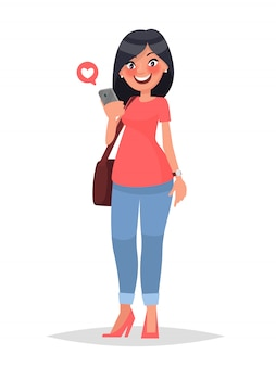 Concept of virtual communication social networking. the girl looks in a smartphone.