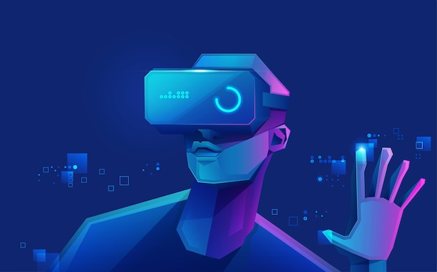 Concept of virtual reality technology, graphic of a teenage gamer wearing vr head-mounted playing game