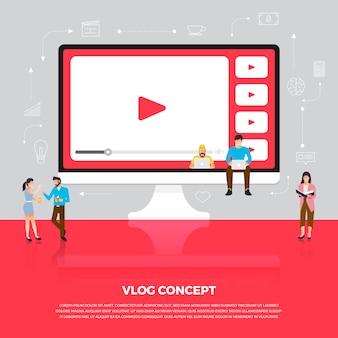 Концептуальный видеоблог. команда разрабатывает видео канала онлайн. проиллюстрировать.