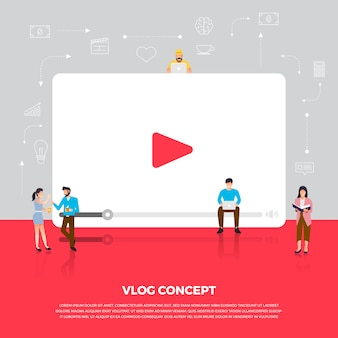 Concept vlog. team develop channel video online.  illustrate.