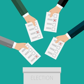 Concept of voting. hands putting voting paper in the ballot box. flat design,   illustration.
