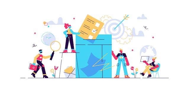 Концепция голосования иллюстрация женщины кладут свои избирательные бюллетени в большой ящик для голосования, электронное голосование \ n