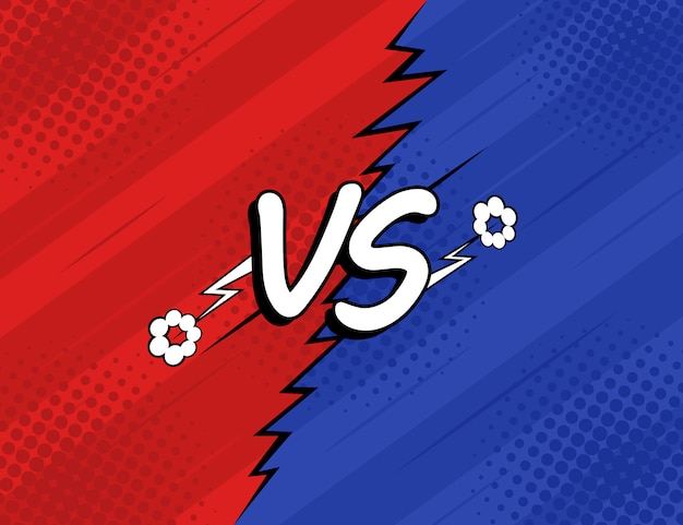 Concept vs. versus. fight, red and blue retro backgrounds comics style design with halftone, lightning. modern flat style vector illustration