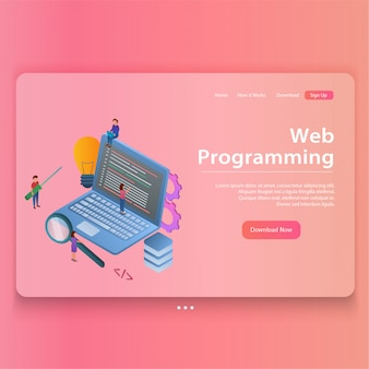 Concept of web programming isometric illustration