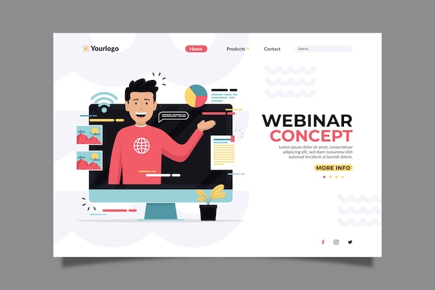 Concept of webinar landing page