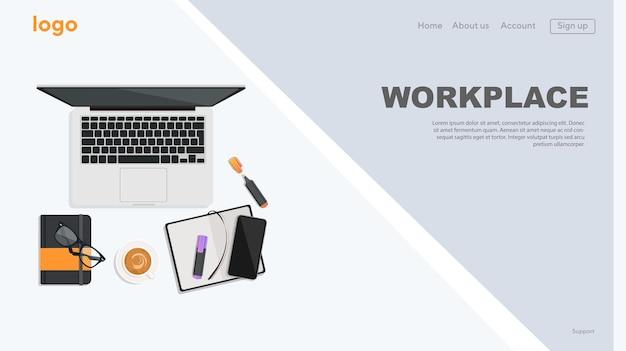 컴퓨터 전화 문서 템플릿 배너와 개념 웹사이트 직장 그림