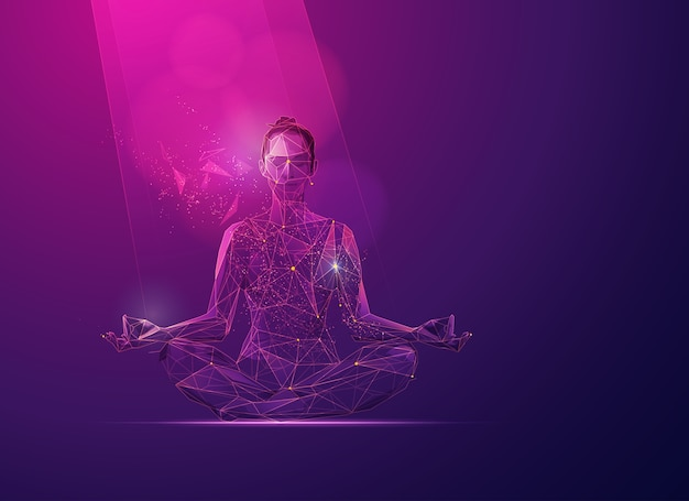 Concept of wellness of mind, graphic of polygon girl at meditation pose