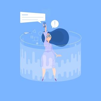 Концепция женщины и социальных сетей.